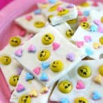 5 Minute Emoji Chocolate Bark This Emoji Chocolate Bark only takes 5 minutes to make cute Valentine's Day Treats