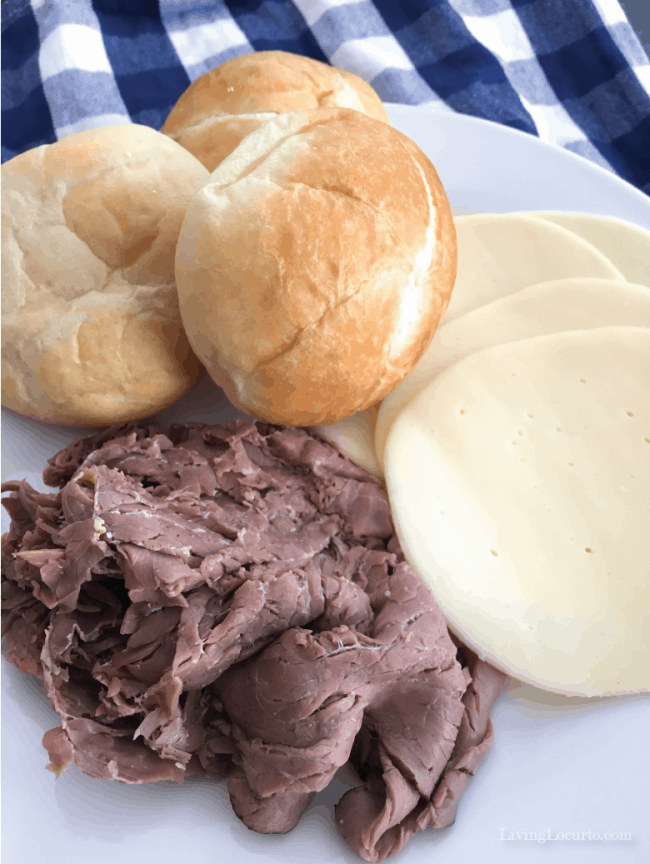 These are the best French Dip Sliders! Easy oven-baked sandwiches with only ten minutes of prep time that are perfect for a quick and easy family meal or a party appetizer.