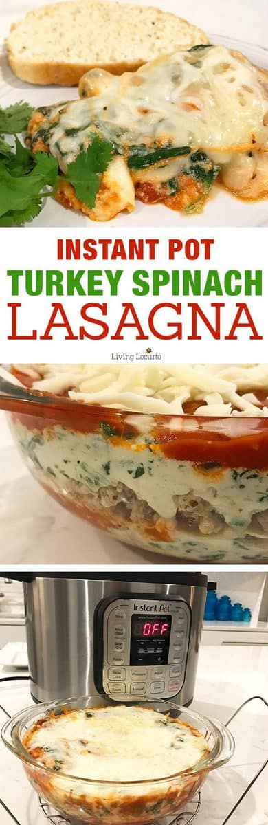 Instant Pot Lasagna is quick, easy and delicious! Try this healthy Turkey Spinach Lasagna recipe in your pressure cooker for a delicious ground turkey dinner.