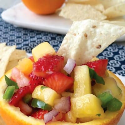 Strawberry Pineapple Mango Fruit Salsa in Orange Bowls