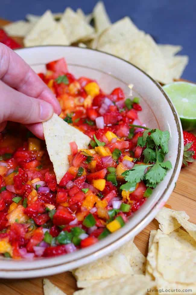 Easy Fruit Salsa Recipe with Strawberry, Mango and Pineapples. Living Locurto