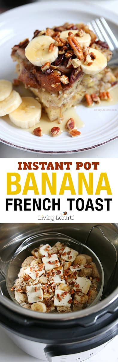 How to make french toast in an Instant Pot! This easy Cream Cheese Banana French Toast bake recipe is a fast way to make breakfast in a pressure cooker. Easy Instant Pot recipe ideas.