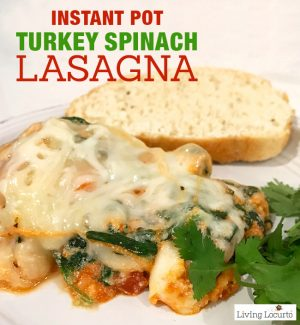 This healthy Turkey Spinach Instant Pot Lasagna is an easy pressure cooker ground turkey recipe your family will love for dinner.