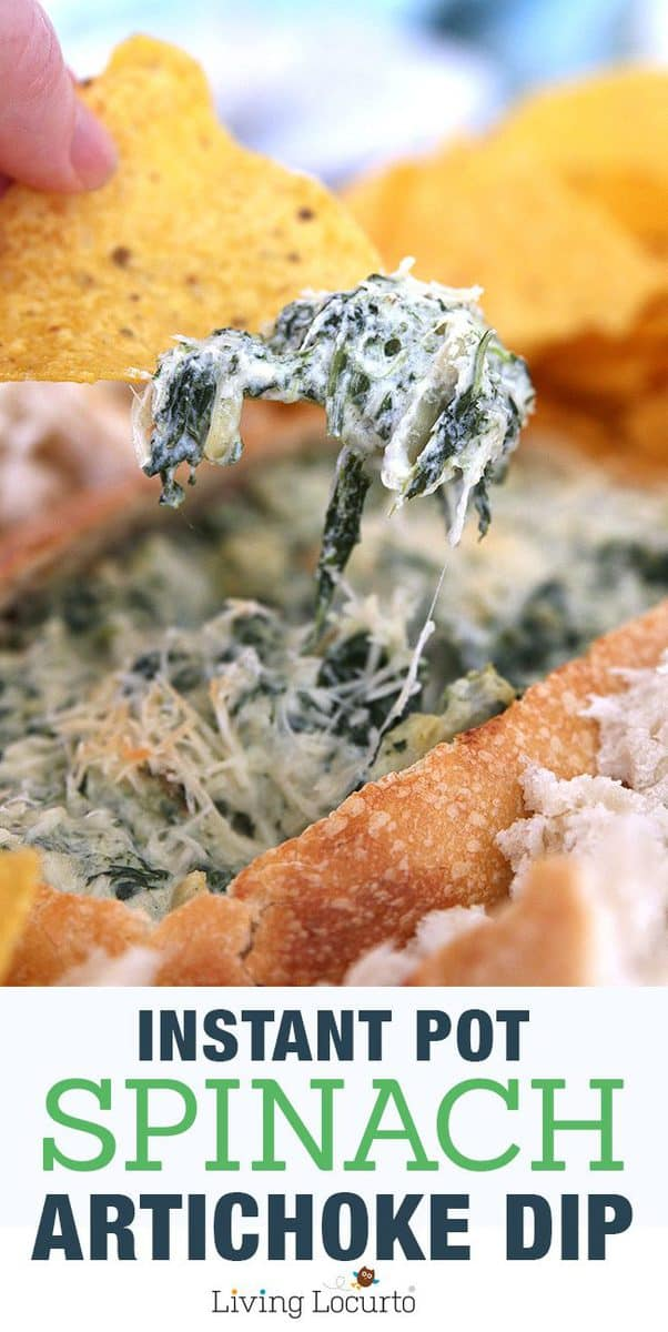 Easy Instant Pot Spinach Artichoke Dip baked in only 10 minutes! Easy pressure cooker recipe when you need a simple, fast and delicious appetizer.