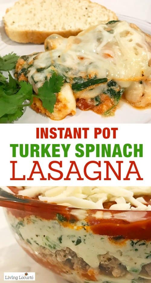 Instant Pot Lasagna is quick, easy and delicious! Try this healthy Ground Turkey Spinach Lasagna in your pressure cooker for a delicious pressure cooker recipe your family will love for dinner.