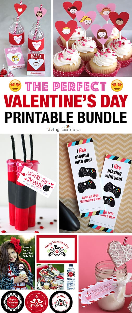 Five of the most adorable Valentine printable packs for last-minute gift giving. This Valentine's Day Printable Bundle is full of our MOST POPULAR Valentines for kids, teachers and anyone you love! LivingLocurto.com