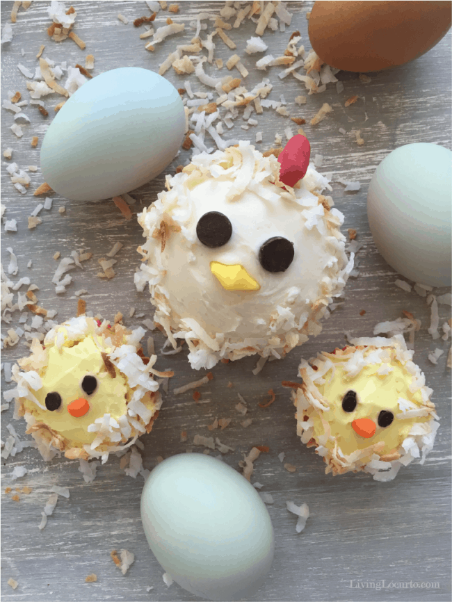 Mama chicken and cute baby chick cupcakes are an adorable party idea! Such an easy homemade dessert for any chicken lover.