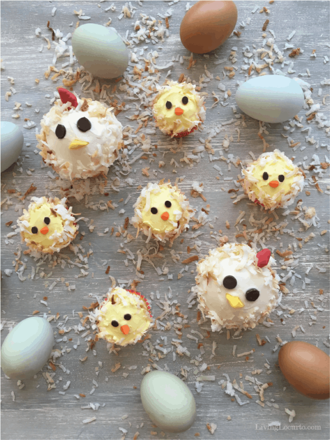 Cute Chicken and Baby Chick Cupcakes! Adorable Chicken Birthday Cake Ideas for chicken lovers.