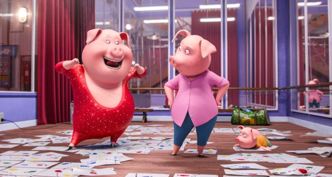 """NICK KROLL voices boisterous German pig Gunter and Academy Award® winner REESE WITHERSPOON voices overtaxed mother Rosita in the event film """"Sing,"""" from Illumination Entertainment and Universal Pictures."""