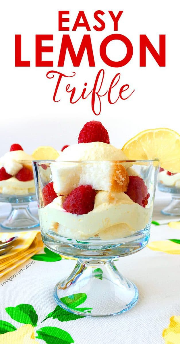 Easy lemon trifle recipe layered dessert recipe. Layers of raspberries and a delicious lemon filling. Low-carb dessert.