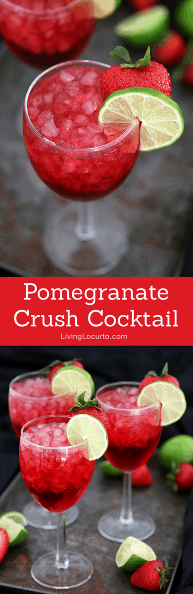 A tasty Pomegranate cocktail drink for your next party! You'll crush on this delightful mixture of pomegranate soda, coconut rum, ginger ale and peach schnapps. Simple drink recipe.