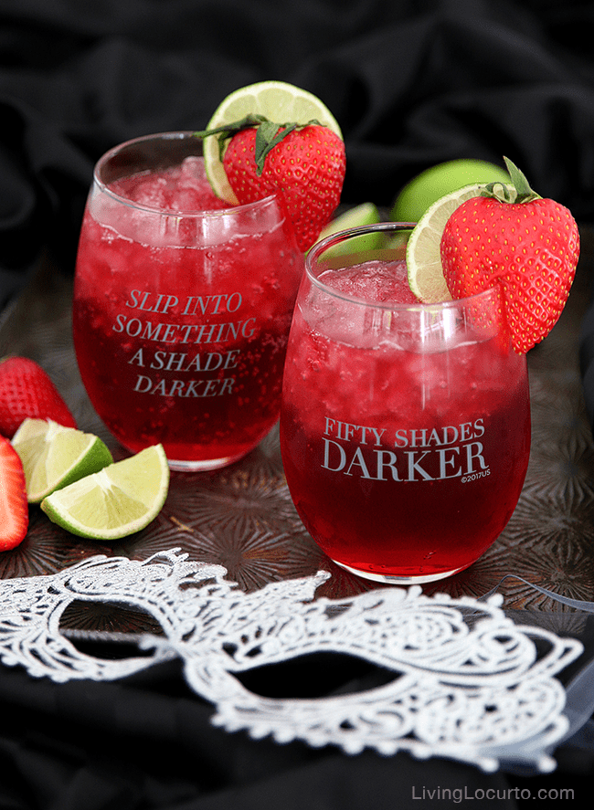 A delicious Pomegranate cocktail drink for a Fifty Shades Darker movie night. You'll crush on this delightful mixture of pomegranate soda, coconut rum, and peach schnapps. Fifty Shades of Grey party ideas.