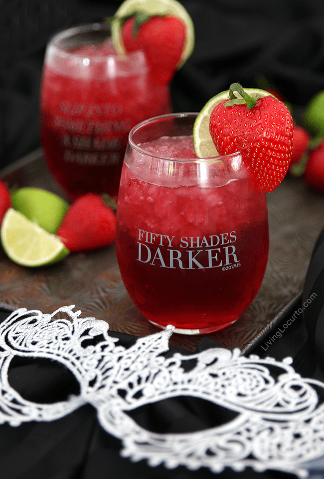 A tasty Pomegranate cocktail drink for Fifty Shades Darker movie night. You'll crush on this delightful mixture of pomegranate soda, coconut rum, and peach schnapps. Fifty Shades of Grey party ideas.