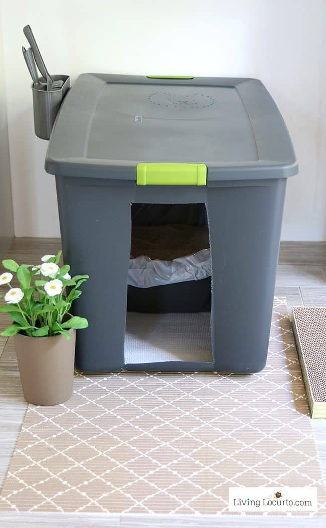 A DIY Cat Litter Box Holder is a simple homemade way to hide a kitty litter box.