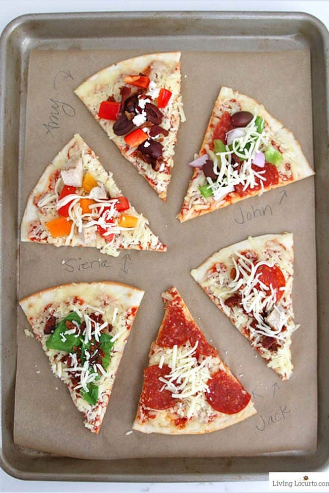 Easy Pizza Party Ideas! How to make a pizza bar with frozen pizza. Buffet idea for a family dinner, birthday party or graduation. Free printable quotes.