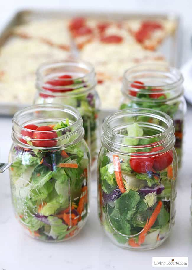 Easy Pizza Party Ideas! Salad in mason jars. How to make a pizza bar with frozen pizza. Buffet idea for a family dinner, birthday party or graduation.