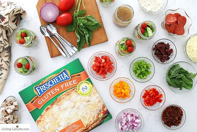 Easy Pizza Party Ideas. Learn how to make a quick pizza bar and download free printables for your party decorations! A fun dinner buffet idea for a small crowd. Freschetta Gluten Free Pizza.
