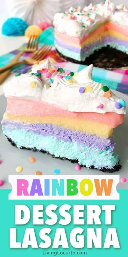 Rainbow dessert lasagna unicorn party recipe
