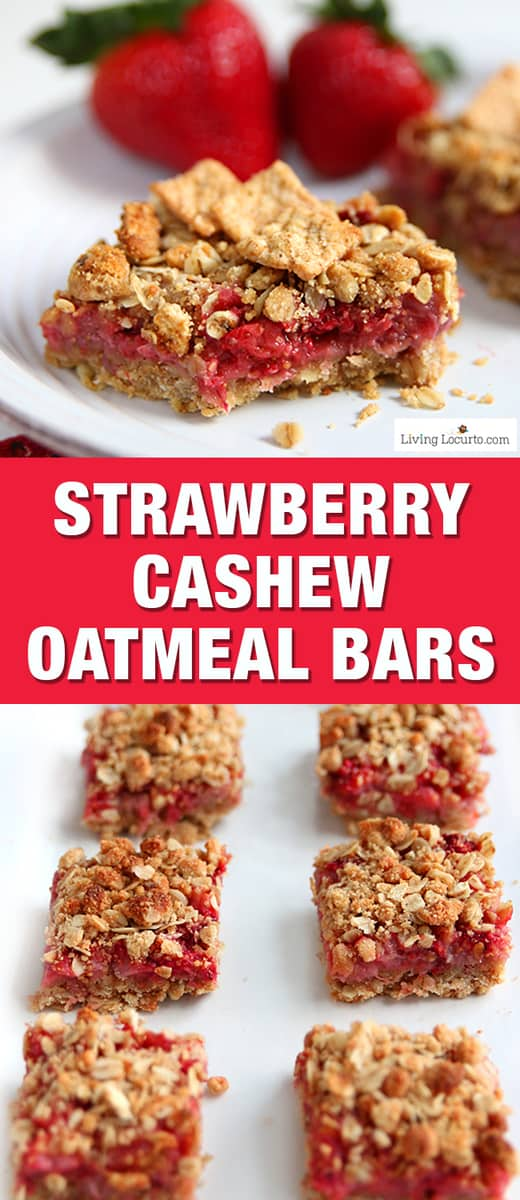 These Strawberry Cashew Oatmeal Bars are a tasty homemade breakfast bar! Easy recipe for breakfast made with fresh picked strawberries. Eat for a snack or put in your kids school lunch box. Good summer party treat. A delicious Cinnamon Toast Crunch cereal recipe made with whole grain. #strawberry #breakfast #easyrecipe #healthyrecipes #cinnamon #oatmeal #recipes #backtoschool #healthyfood #snacks #yummy #breakfastbar #livinglocurto #cinnamontoastcrunch #cereal