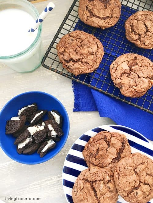 Cute Christas Cookies! OREO Chocolate Cake Mix Cookies and Cream Cookies are rich cake mix cookies filled with pieces of OREO cookies. Easy chocolate cookie recipe.