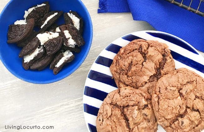 Easy OREO Chocolate Cake Mix Cookies and Cream Cookies. A delicious cake mix cookies recipe filled with pieces of OREO cookies.