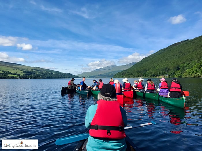 CanoeLoch Tayand Explore a Scottish Crannog - 5 Best Outdoor Scotland Family Vacation Ideas! Amazing nature trips in Scotland for families. Kid friendly Scottish highlands vacation ideas and travel tips.