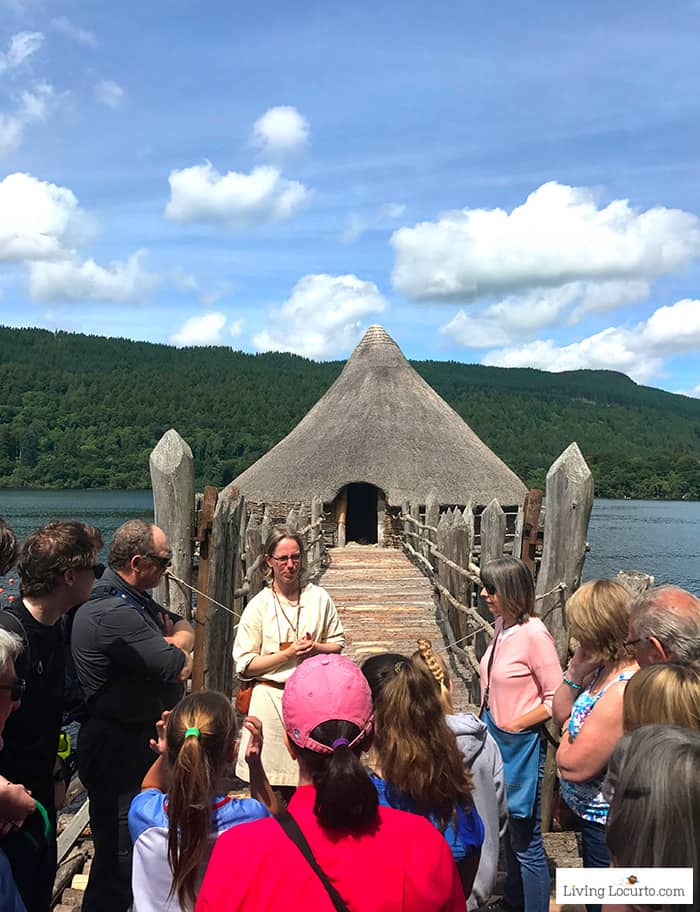 Tour a real Crannog at the Scottish Crannog Centre. 5 Best Outdoor Scotland Family Vacation Ideas! Amazing nature trips in Scotland for families. Kid friendly Scottish highlands vacation ideas and travel tips.