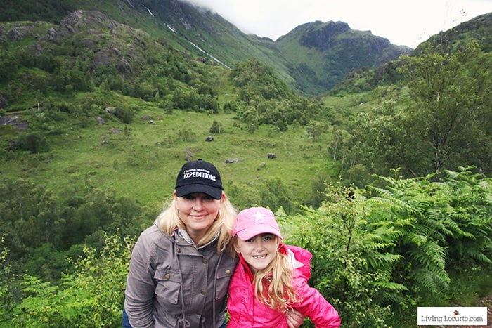 Hiking Glen Nevis to see waterfall. 5 Best Outdoor Scotland Family Vacation Ideas! Amazing nature trips in Scotland for families. Kid friendly Scottish highlands vacation ideas and travel tips. Amy Locurto Travel Blogger LivingLocurto.com