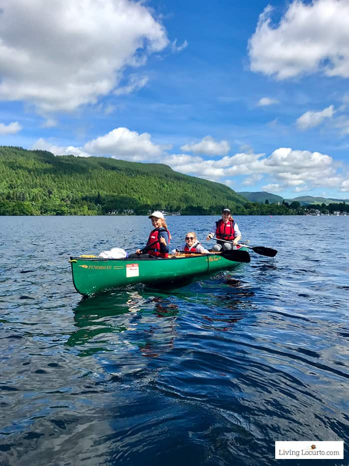 Canoe on Loch Tay. The best outdoor nature trips in Scotland for families. Kid friendly Scotland family vacation ideas and travel tips.