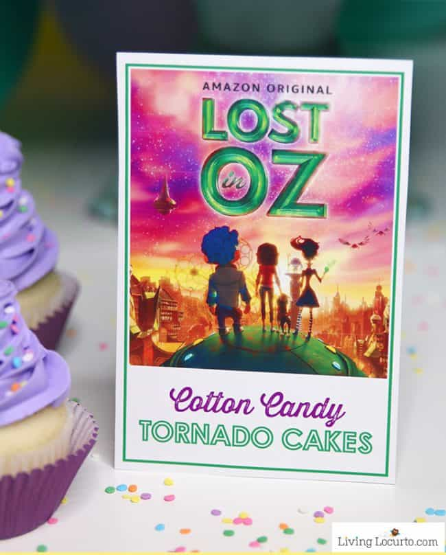 Lost in Oz free printable - Magical Glow in the Dark Cotton Candy Cupcakes
