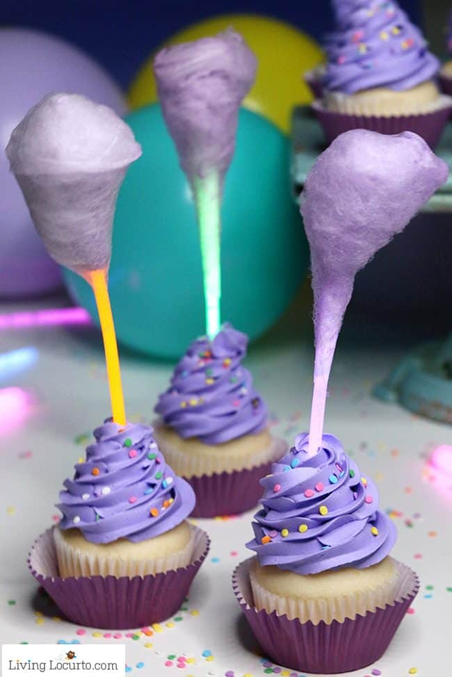 Magical Glow in the Dark Cotton Candy Cupcakes - Fun Food Birthday Party idea. Lost in Oz
