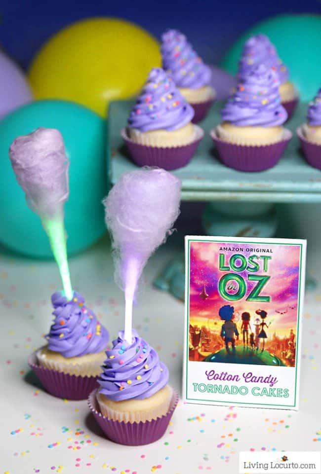 Magical Glow in the Dark Cotton Candy Cupcakes in the shape of tornados are the perfect treat for watching Lost in Oz, a new Amazon Original kids series!
