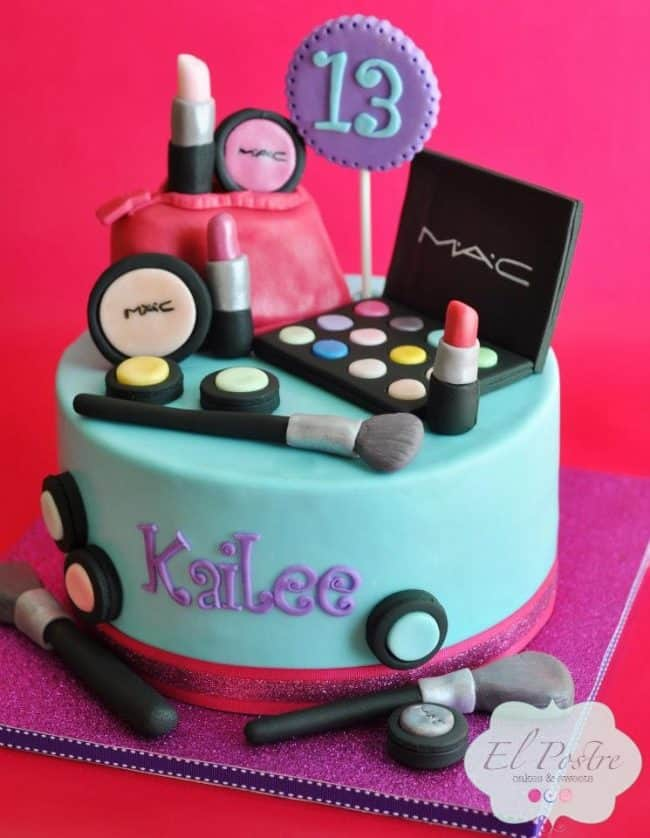 Mac Make-Up Cake - How to make fondant icing and simple cake decorating tips!