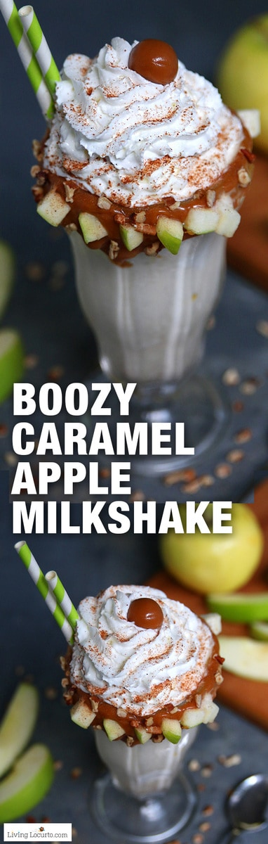 This Spiced Rum Caramel Apple Milkshake will hit the spot! A boozy shake recipe with all of your favorite fall flavors is a delicious dessert cocktail. Great with bourbon too! #rum #drinks #drinkrecipe #caramel #cocktails #apple #drink #recipe #milkshake #desserts #icecream