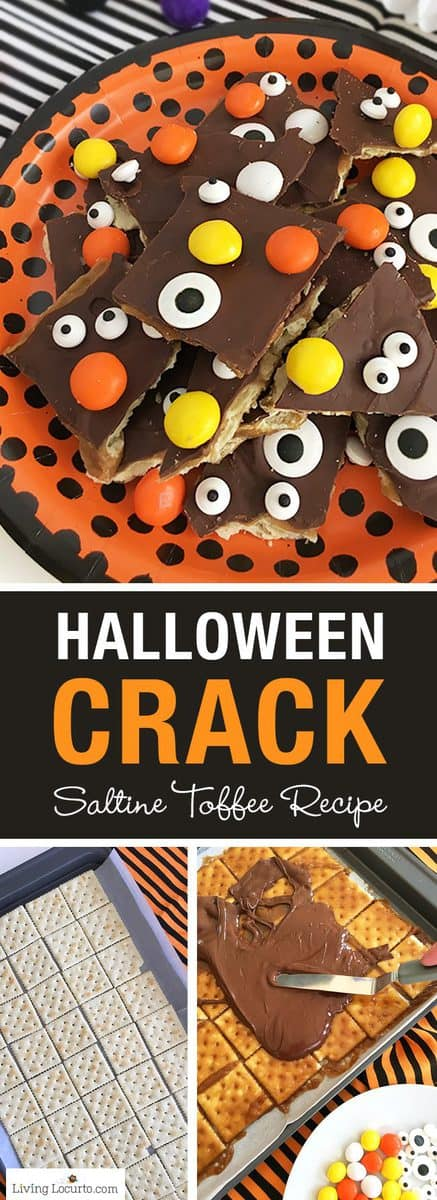 If you can't wait for Christmas Crack, try Halloween Crack! A quick and fun dessert recipe with saltine crackers covered in chocolate and Halloween candy. Easy Saltine Toffee bark recipe with candy eyeballs and M&M's.