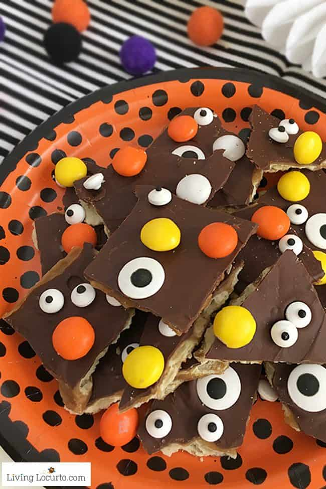 If you can't wait for Christmas Crack, try Halloween Crack! A quick and fun dessert recipe with saltine crackers covered in chocolate and Halloween candy.