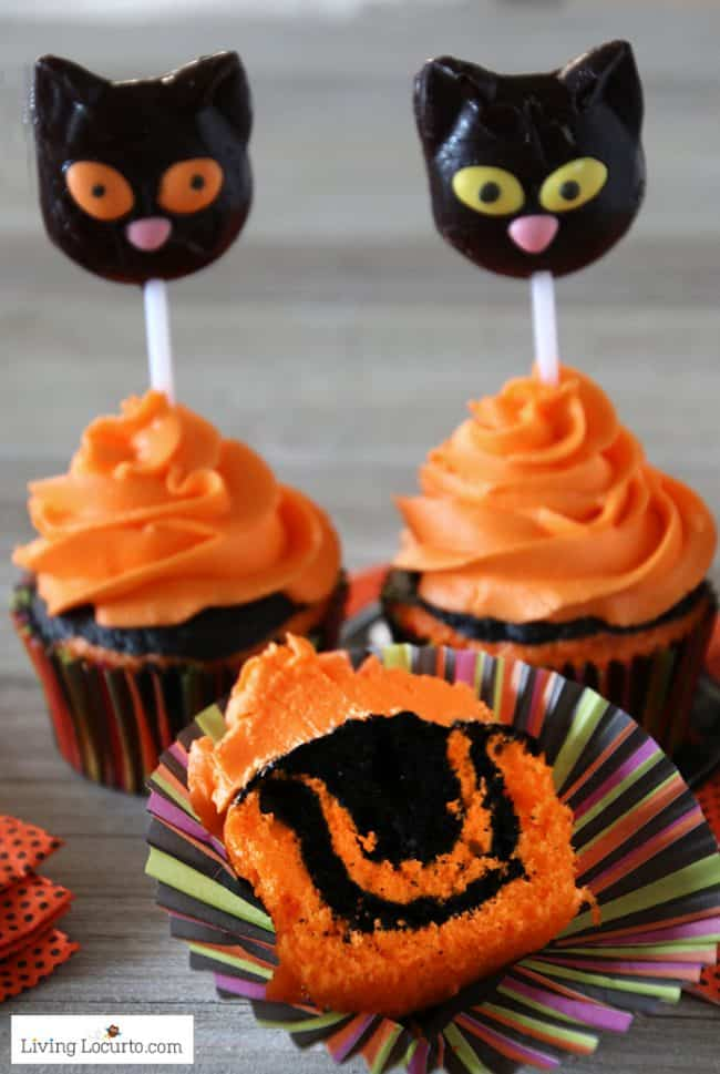 How to make orange and black tie dye Halloween cupcakes with black cat lollipops.