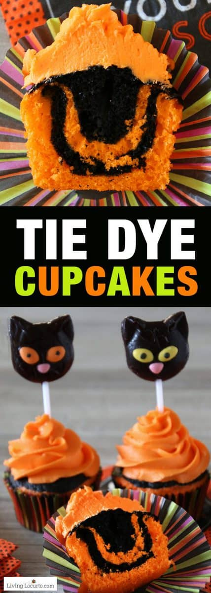 Halloween Cupcakes and Easy Tie Dye Cake Recipe. Turn your Halloween cupcakes into the most spooktacular treats by making tie dyed cake. Orange and black tie dye cupcakes with black cat lollipops.