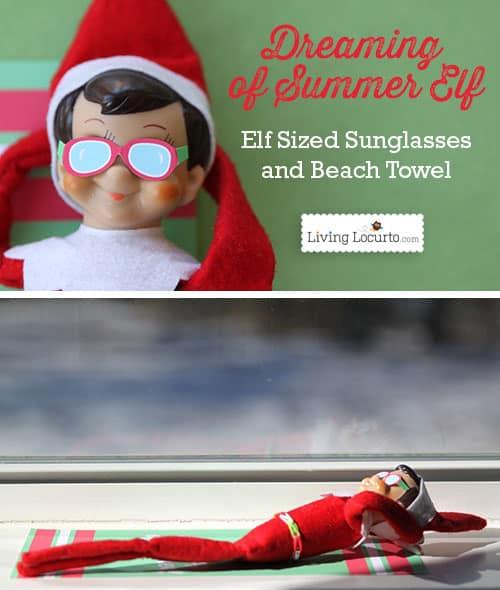 Elf Sunglasses and Beach Towel Printable. Cute Christmas Elf Ideas for kids.
