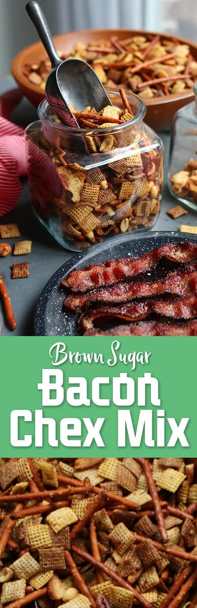 Easy Brown Sugar Bacon Chex Mix recipe! With a burst of bacon flavor and a hint of sweetness, you'll want to eat this incredible snack all day. Free printable gift tags for simple DIY holiday homemade gifts in a jar.