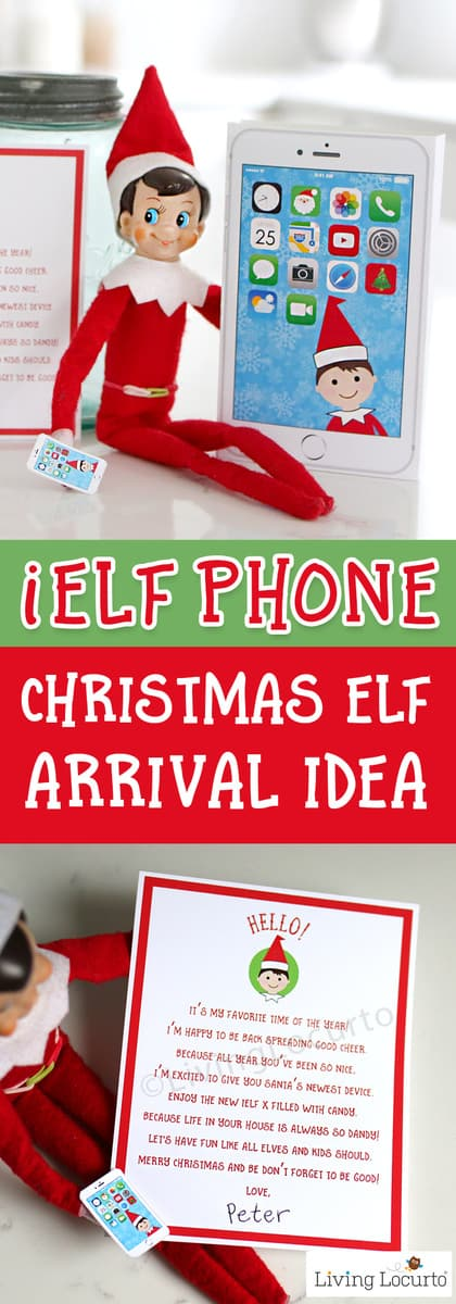Elf Phone printable and welcome back elf arrival letter from the North Pole! An easy and adorable Christmas Elf Arrival Idea. Surprise kids with Santa's iElf X Phone. Magical North Pole cutting edge technology where phone is powered by candy! Cute printables! #elf #christmas