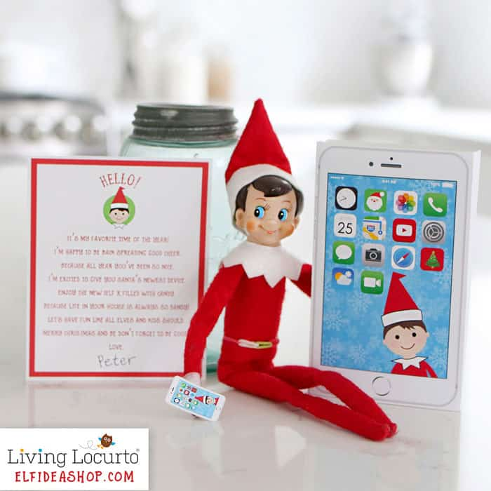 Elf Phone printable and Elf Arrival letter from the North Pole is an easy Christmas Elf arrival idea! By LivingLocurto.com