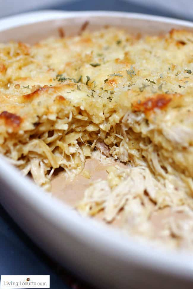 Easy baked Chicken Tetrazzini pasta dinner recipe.