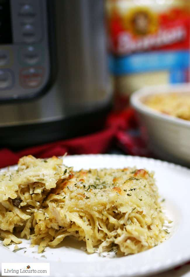 Easy Instant Pot Chicken Tetrazzini. Cheese pasta pressure cooker recipe.