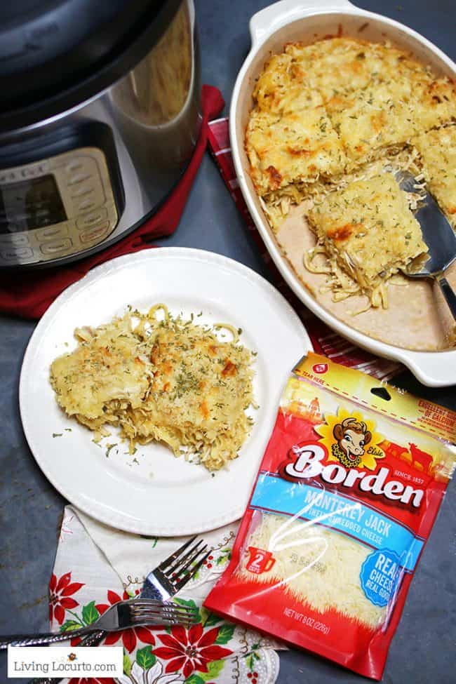 An easy one pot cheesy Instant Pot Chicken Tetrazzini recipe made in a pressure cooker.