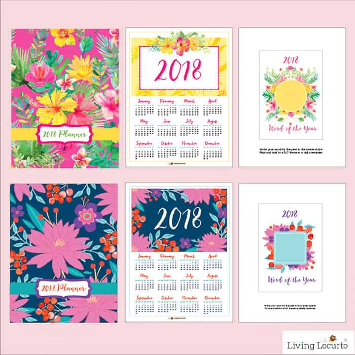 DIY 2018 Planner. Beautiful Floral Printable Planners, Calendar and lists. Stay organized this year with these printables. LivingLocurto.com