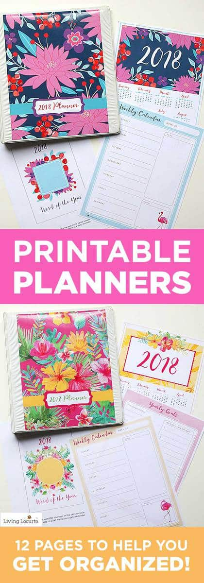 A beautiful printable 2018 Planner that makes the perfect DIY daily planner to help keep focused, get your life organized and get the things done that are on your to do list! Floral DIY Printable Planners, Calendar and lists. LivingLocurto.com