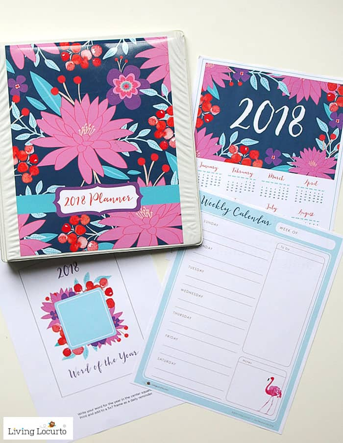 DIY 2018 Planner. Navy and Pink Floral Printable Planners, Calendar and lists. LivingLocurto.com