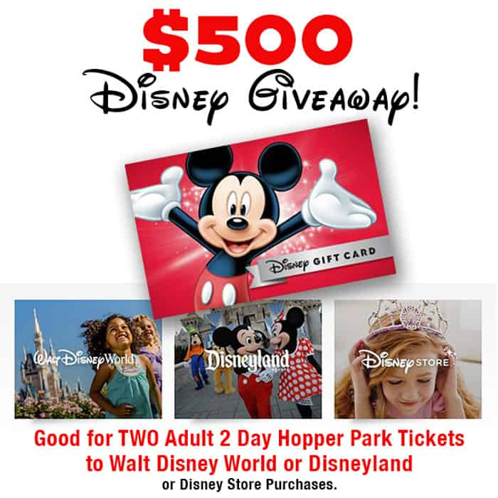 Spreading joy this Holiday season with a magical giveaway for Free Disney World or Disneyland Park Tickets! $500 Disney Gift Card Giveaway