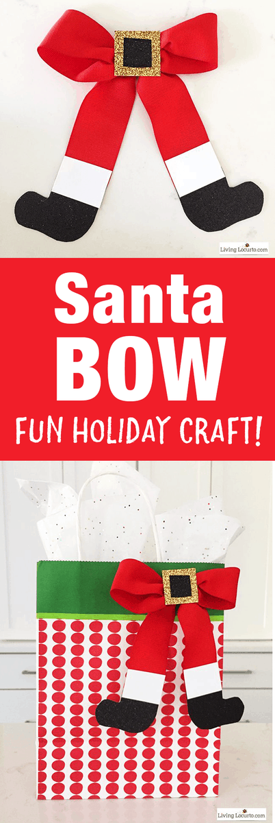 How to Make a Santa Bow! This simple craft adds a special touch to any Christmas present or little girl's hair! Such an easy Christmas craft to make this holiday season. #santa #christmas